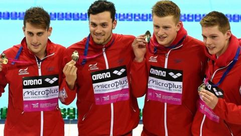 GB's Christopher Walker-Hebborn, James Guy, Adam Peaty and Duncan Scott