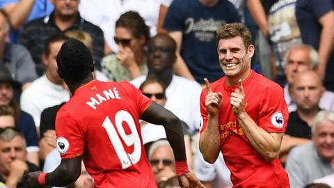 James Milner of Liverpool celebrates