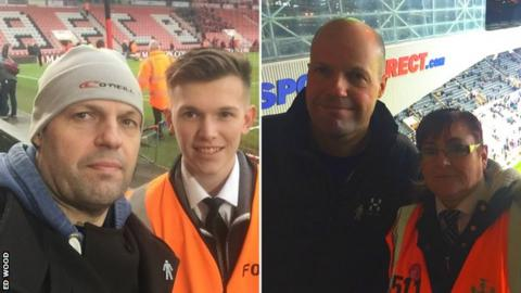 Ed Wood with stewards at Bournemouth and Newcastle