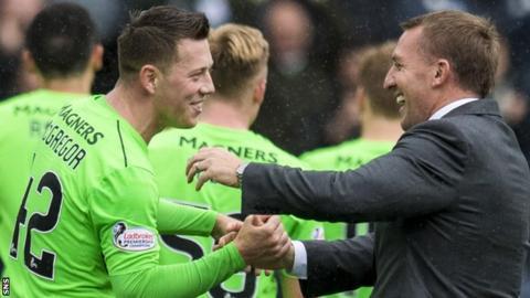 Celtic's Callum McGregor and Brendan Rodgers celebrate