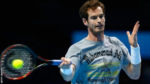 Andy Murray training at the O2 Arena