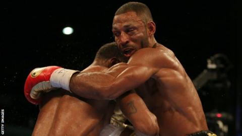 Kell Brook was knocked down by 27-year-old Errol Spence Jr in the 10th round and then stopped in the 11th, with his eye heavily swollen