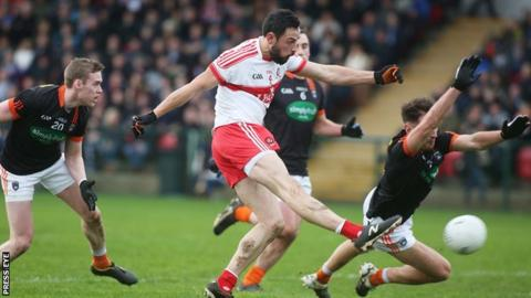 Aidan McLaughlin fires in Derry's opening goal against Armagh at Owenbeg