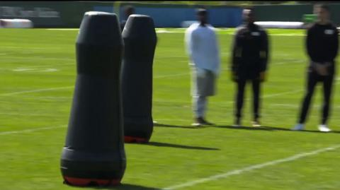 NFL experiment with robot training dummies