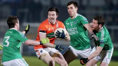Armagh's Aidan Forker is surrounded by Fermanagh trio Che Cullen, Ryan Jones and Niall Cassidy