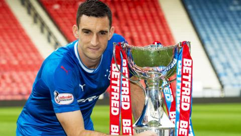 Lee Wallace with the Scottish League Cup
