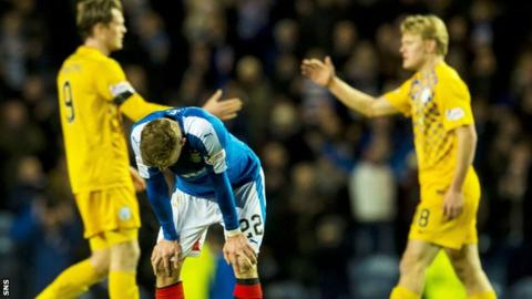 Rangers' Dean Shiels is left disappointed against Morton