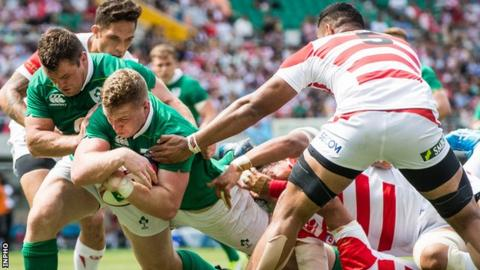 Dan Leavy goes over for Ireland's second try of the game against Japan