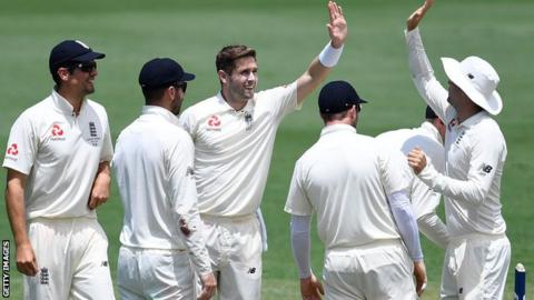 Woakes takes six wickets on day one of England's final Ashes warm-up