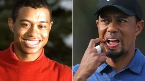 Tiger Woods after 1997 Masters win (left) and in 2017