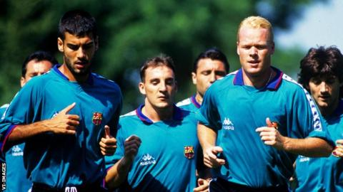 Pep Guardiola and Ronald Koeman as Barcelona players