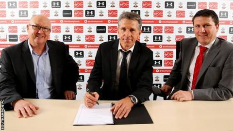 Southampton executive director of football Les Reed, new manager Claude Puel and chief executive Gareth Rogers