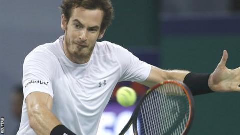 Andy Murray hits a backhand in his win over Tomas Berdych