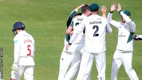 Worcestershire celebrate the dismissal of Kiran Carlson