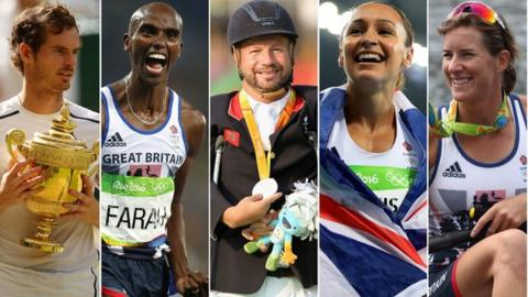 Andy Murray, Mo Farah, Lee Pearson, Jessica Ennis-Hill and Katherine Grainger are all honoured