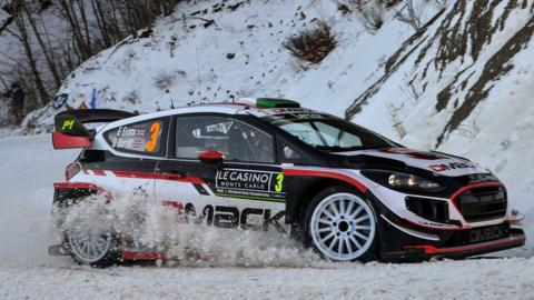 Elfyn Evans and co-driver Daniel Barritt in action during the Monte Carlo rally