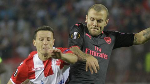 Jack Wilshere in action in Belgrade
