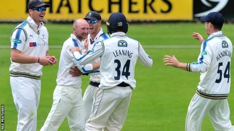 Adam Lyth celebrates