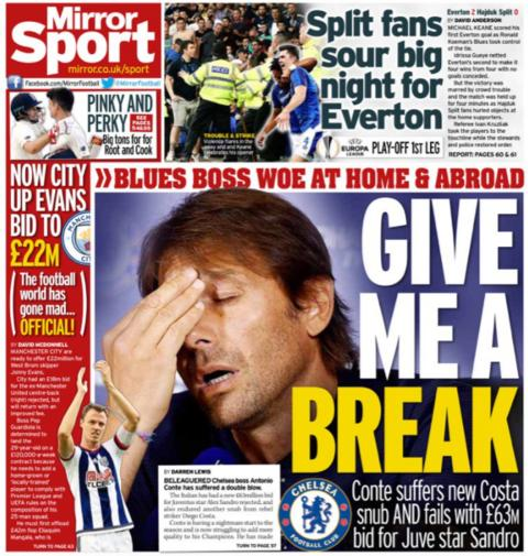 The Mirror back page on Friday