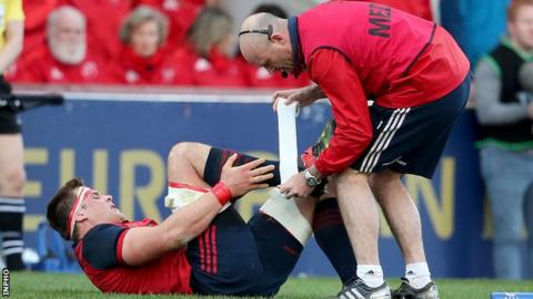 CJ Stander suffered an ankle injury in Munster's European quarter-final win over Toulouse