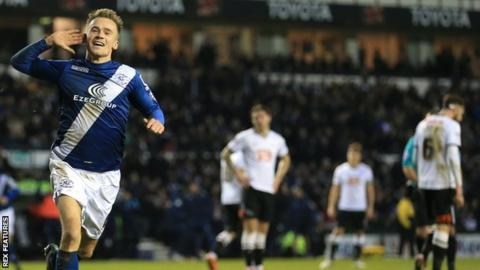 Maikel Kieftenbeld celebrates Blues' spectacular third goal in the 3-0 win at Derby