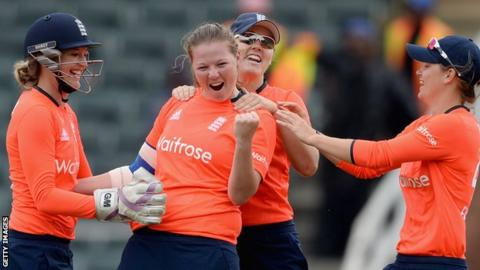 England women's Anya Shrubsole celebrates