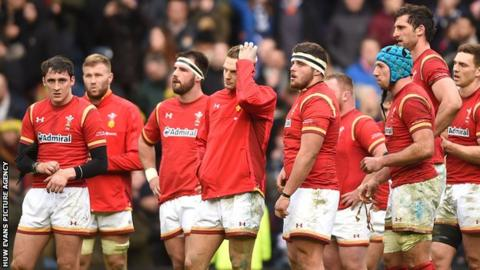 Wales players following the loss against Scotland