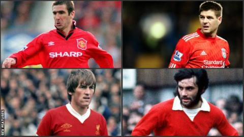 Clockwise from top left: Eric Cantona, Steven Gerrard, George Best and Kenny Dalglish