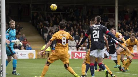 Ben Heneghan's header was kicked away by Tom Hateley (out of picture) with the ball looking over the line