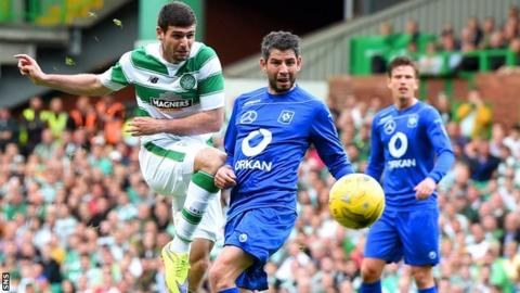 Celtic beat Stjarnan 2-0 in the first leg of the second qualifying round