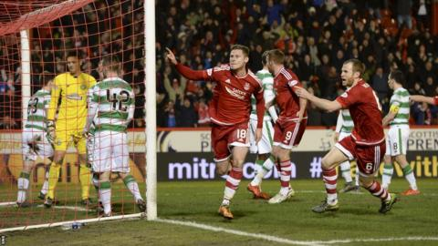 Simon Church celebrates after scoring for Aberdeen against Celtic