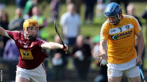 Westmeath's Darragh Egeleton in action against John Dillon from Antrim