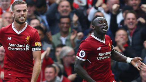Jordan Henderson and Sadio Mane