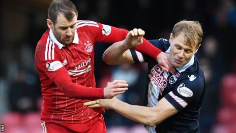Aberdeen's Niall McGinn tries to get the better of Ross County's Jay McEveley
