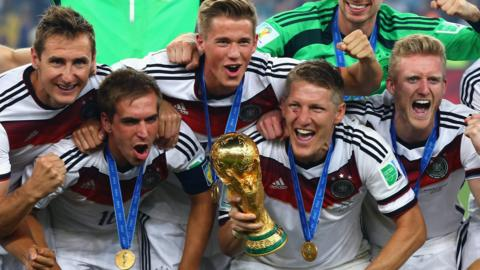 Germany celebrate with World Cup trophy
