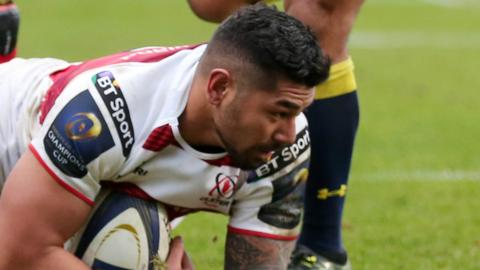 Charles Piutau dives over to score Ulster's fifth try