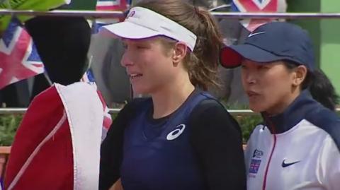 Johanna Konta leaves the court in tears