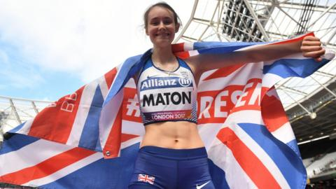 Polly Maton celebrates after winning silver in the women's T47 long jump