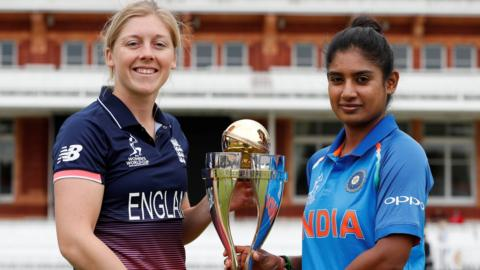 England and India captains with the trophy
