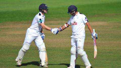 Jimmy Adams' second-wicket stand of 159 with centurion Sean Ervine (right) earned Hampshire their draw at Taunton