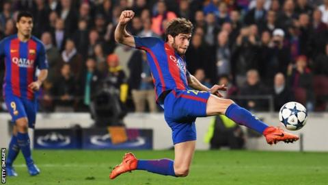 Sergi Roberto scores Barca's sixth goal against Paris St Germain