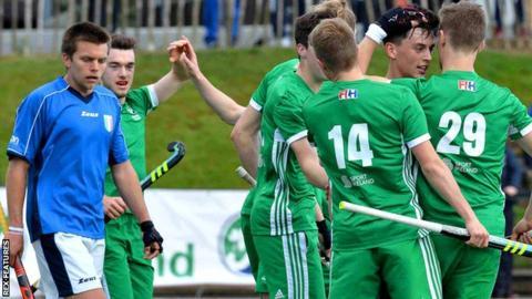Ireland celebrates Matthew Nelson's goal against Italy