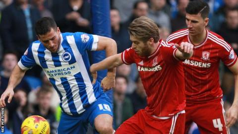 Brighton and Middlesbrough in action