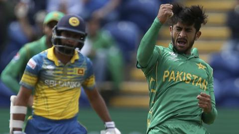 Pakistan's Hasan Ali celebrates the wicket of Sri Lanka's Kusal Mendis