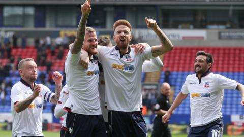 Bolton celebrate David Wheater's goal