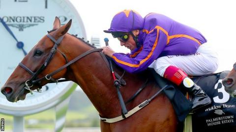 Frankie Dettori rides Wicklow Brave to victory in last year's Irish St Leger