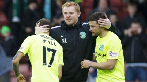 Hibs boss Neil Lennon with Martin Boyle and Lewis Stevenson