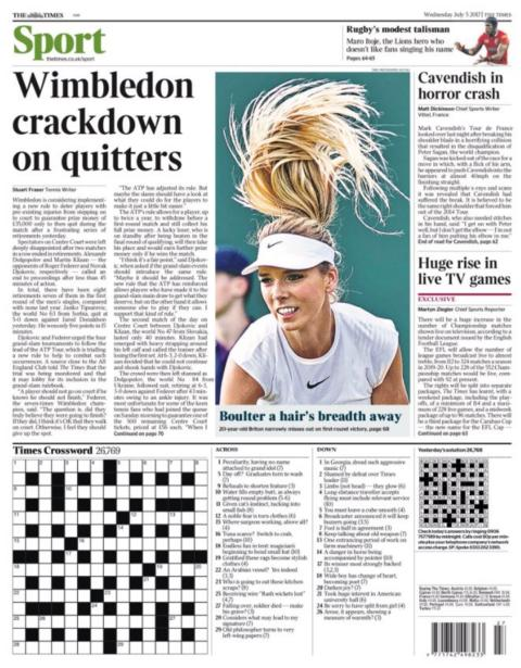 Wednesday's Times back page