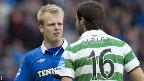 Steven Naismith has words with Celtic's Joe Ledley while with Rangers