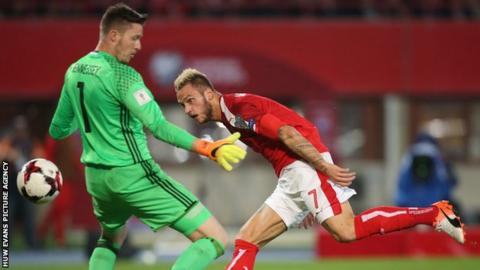 Wales keeper Wayne Hennessey beaten by Austria's Marko Arnautovic